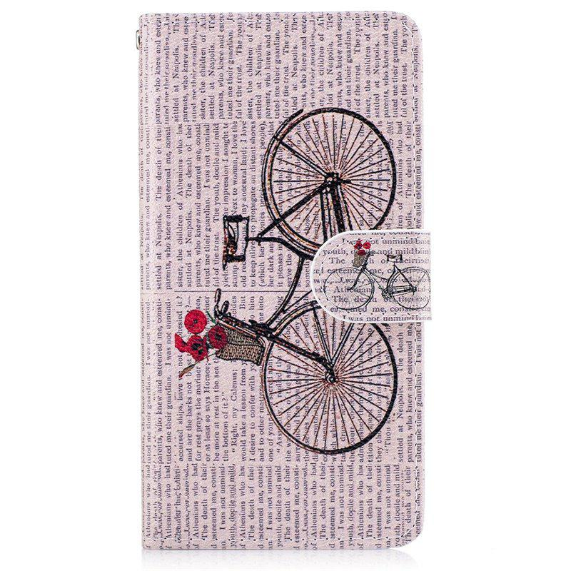 Bicycle Painting Card Lanyard Pu Leather Cover for LG G6 - LIGHT PINK