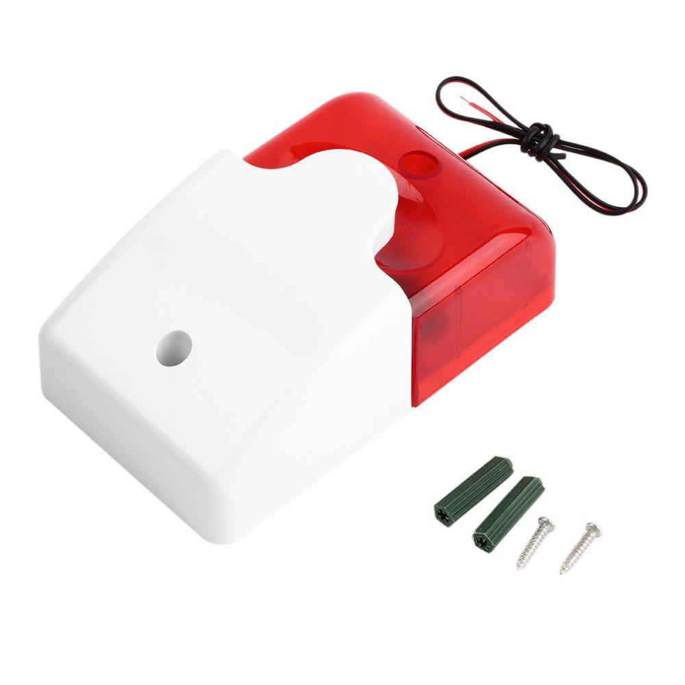 Mini Wired Strobe Siren Durable 12V Sound Alarm Strobe Flashing Red Light Sound Siren Home Security Alarm System 115dB - RED