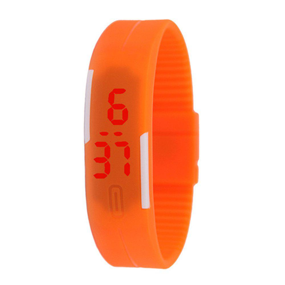 Silicone Rubber Gel Jelly LED Wrist Watch Bracelet Men Women - ORANGE