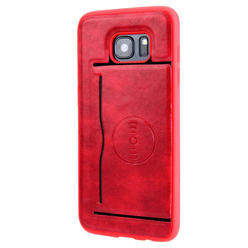 Solid Color Suction Tape Bracket TPU Phone Case for Samsung Galaxy S7 - RED