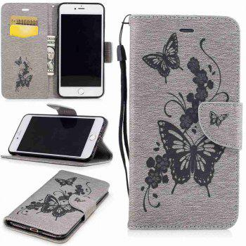 Embossed Peach Butterfly PU TPU Phone Case for iPhone 7 Plus / 8 Plus - GRAY