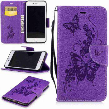 Embossed Peach Butterfly PU TPU Phone Case for iPhone 7 Plus / 8 Plus - PURPLE