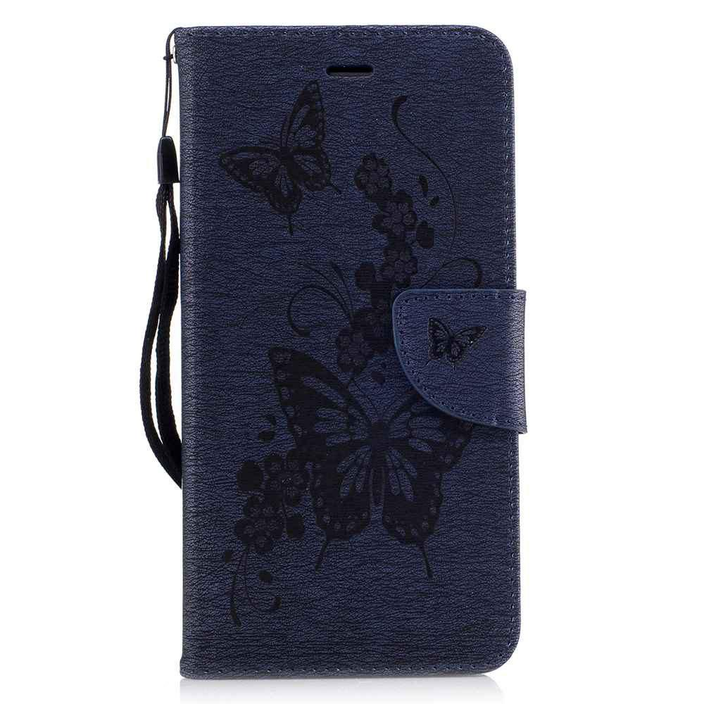 Embossed Peach Butterfly PU TPU Phone Case for iPhone 7 Plus / 8 Plus - CERULEAN