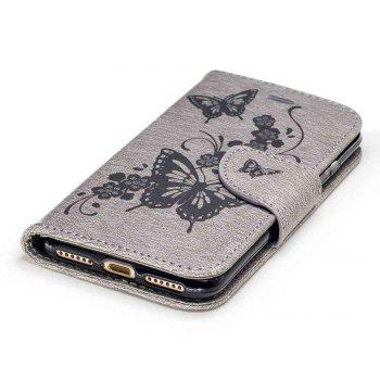 Embossed Peach Butterfly PU TPU Phone Case for iPhone 7 / 8 - GRAY
