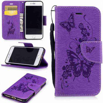 Embossed Peach Butterfly PU TPU Phone Case for iPhone 7 / 8 - PURPLE