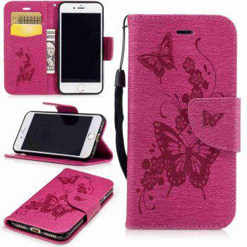 Embossed Peach Butterfly PU TPU Phone Case for iPhone 7 / 8 - SANGRIA