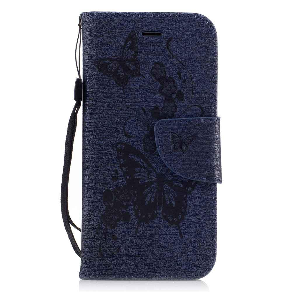Embossed Peach Butterfly PU TPU Phone Case for iPhone 7 / 8 - CERULEAN
