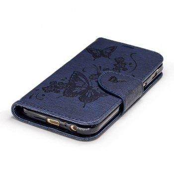 Embossed Peach Butterfly PU TPU Phone Case for Samsung Galaxy A3 2017 - CERULEAN