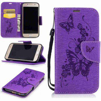 Embossed Peach Butterfly PU TPU Phone Case for Samsung Galaxy A3 2017 - PURPLE