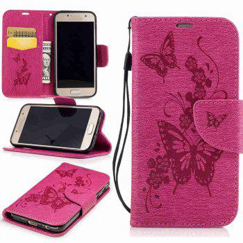 Embossed Peach Butterfly PU TPU Phone Case for Samsung Galaxy A3 2017 - SANGRIA