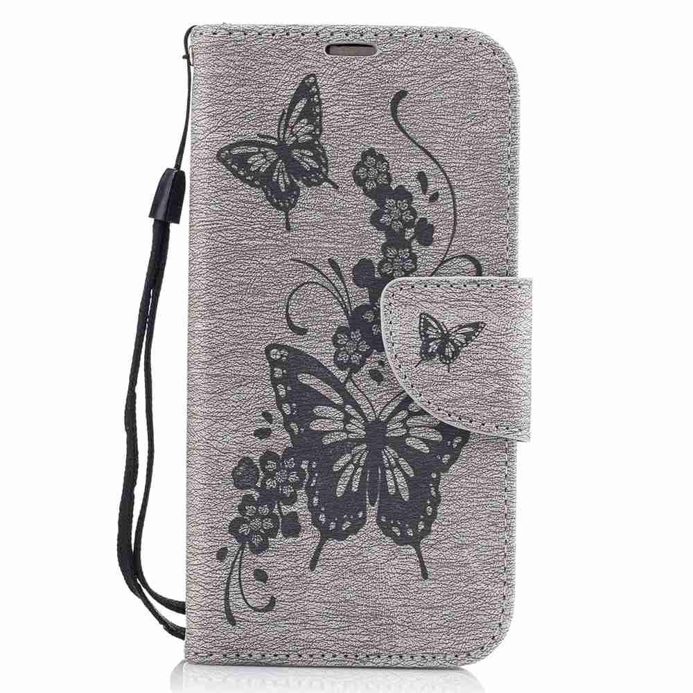 Embossed Peach Butterfly PU TPU Phone Case for Samsung Galaxy A3 2017 - GRAY