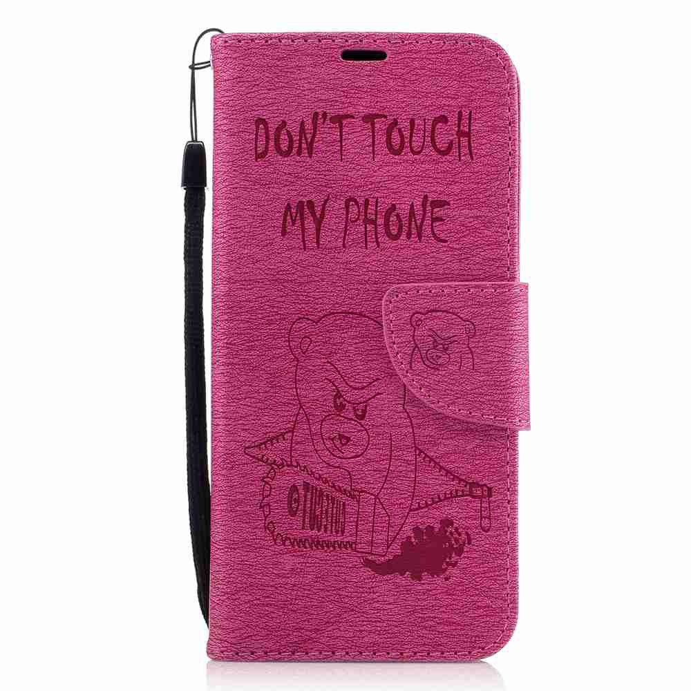 Embossed Electric Bear PU TPU Phone Case for Samsung Galaxy S8 - SANGRIA