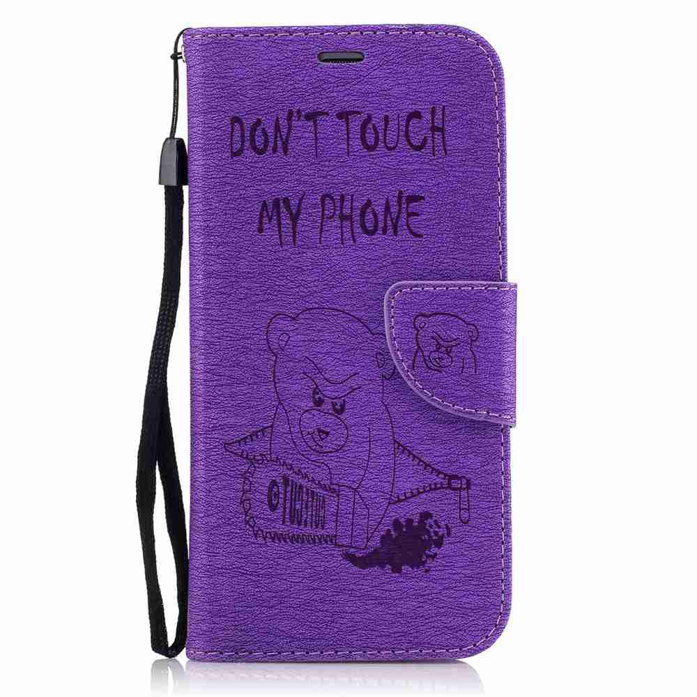Embossed Electric Bear PU TPU Phone Case for Samsung Galaxy S7 Edge - PURPLE