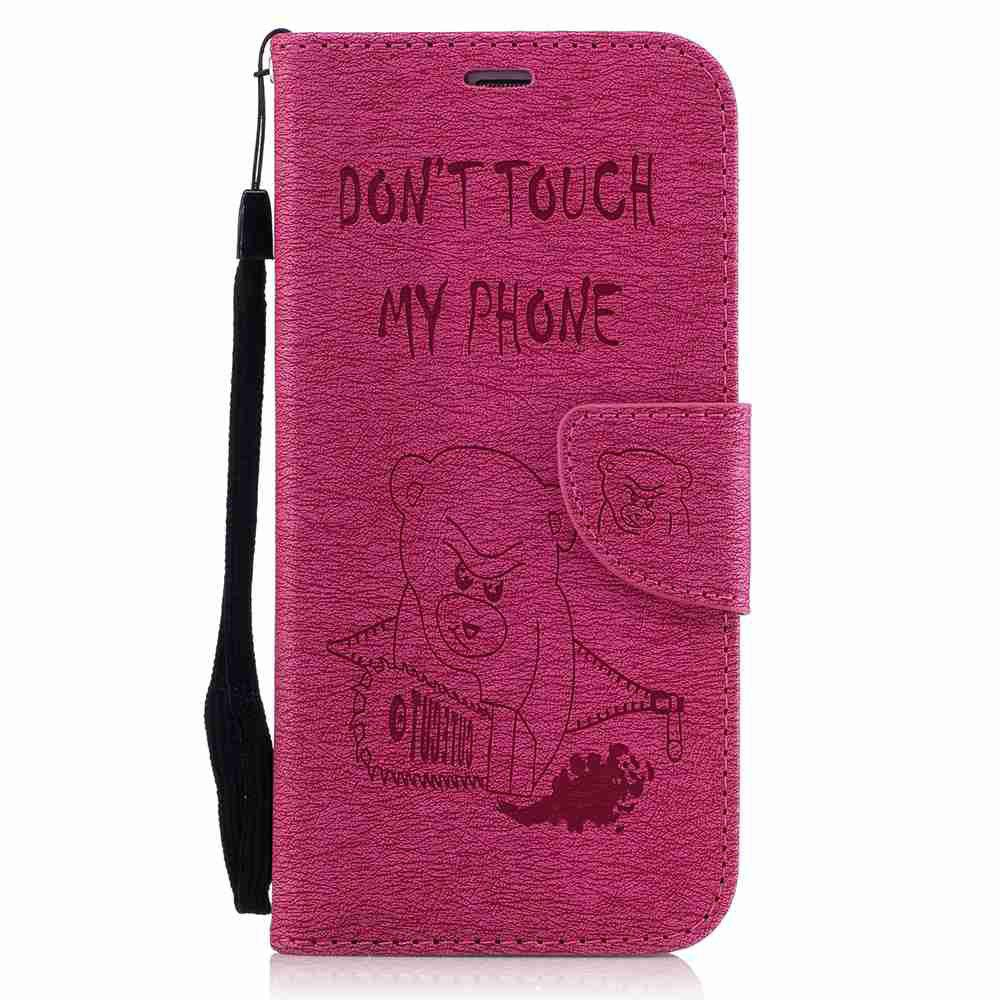 Embossed Electric Bear PU TPU Phone Case for Samsung Galaxy S7 Edge - SANGRIA
