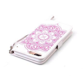 Wind Chime Leather Case with Water Drill for iPhone 7 Plus / 8 Plus - PINK / WHITE