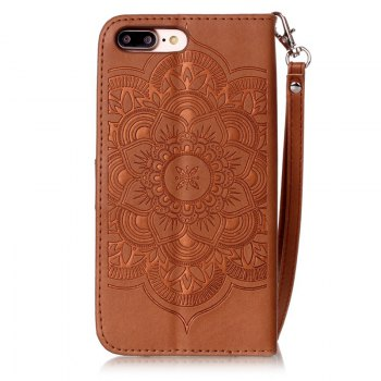 Wind Chime Leather Case with Water Drill for iPhone 7 Plus / 8 Plus - BROWN