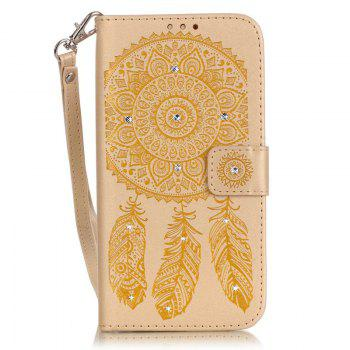 Wind Chime Leather Case with Water Drill for iPhone 7 Plus / 8 Plus - GOLDEN
