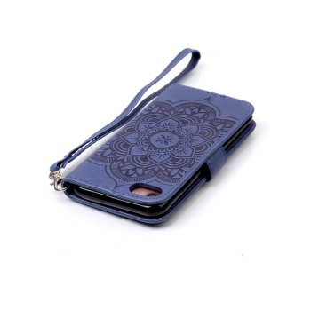 Wind Chime Leather Case with Water Drill for iPhone 7 / 8 - BLUE