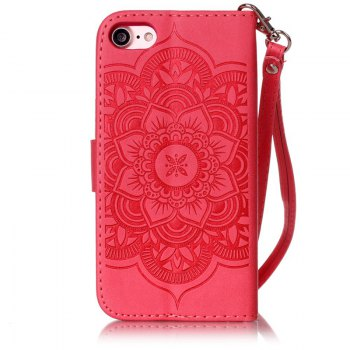 Wind Chime Leather Case with Water Drill for iPhone 7 / 8 - RED