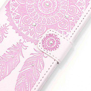 Wind Chime Leather Case with Water Drill for iPhone 7 / 8 - PINK / WHITE