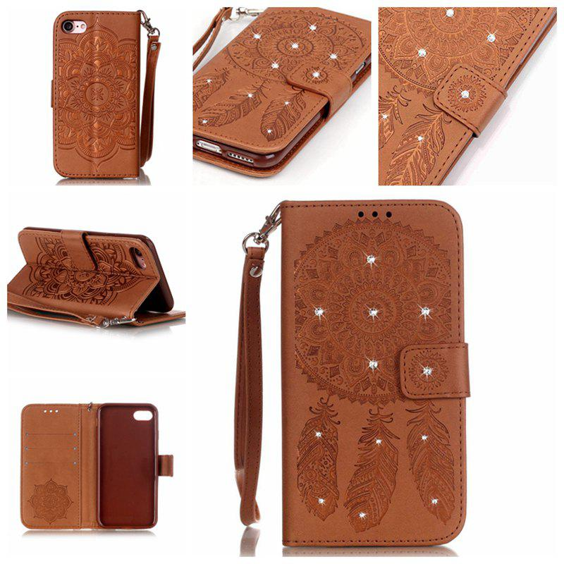 Wind Chime Leather Case with Water Drill for iPhone 7 / 8 - BROWN