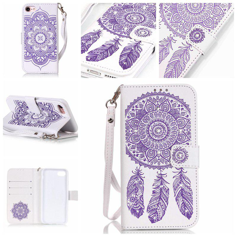 Wind Chime Leather Case with Water Drill for iPhone 7 / 8 - PURPLE