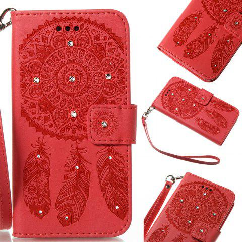 Wind Chime Leather Case with Water Drill for iPhone X - RED