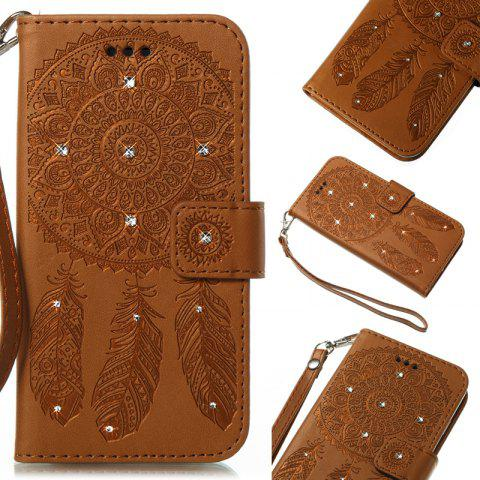 Wind Chime Leather Case with Water Drill for iPhone X - BROWN