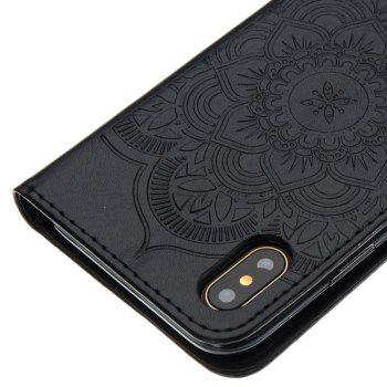 Wind Chime Leather Case with Water Drill for iPhone X - BLACK