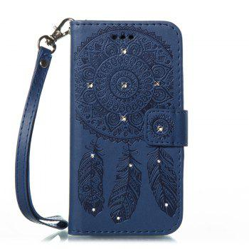 Wind Chime Leather Case with Water Drill for iPhone X - BLUE