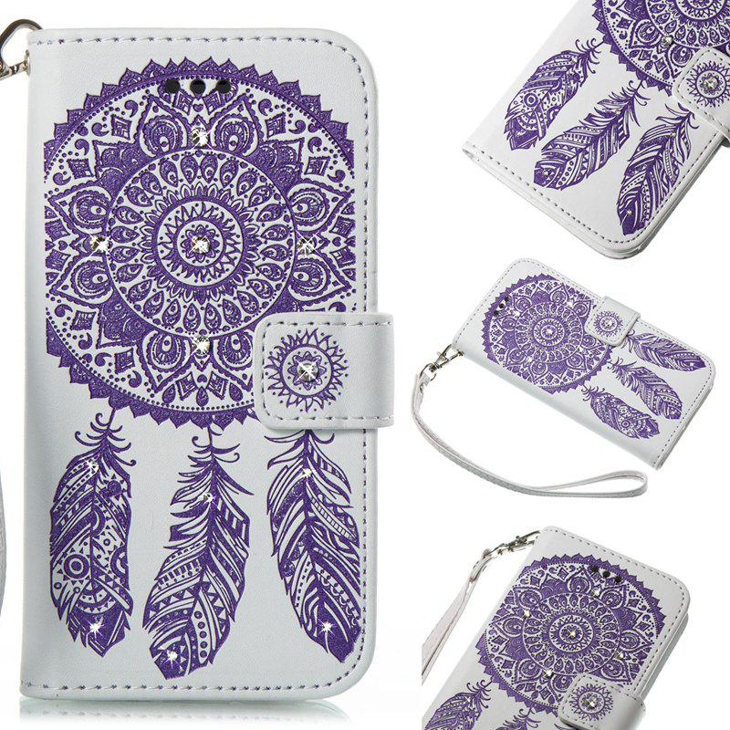 Wind Chime Leather Case with Water Drill for iPhone X - PURPLE