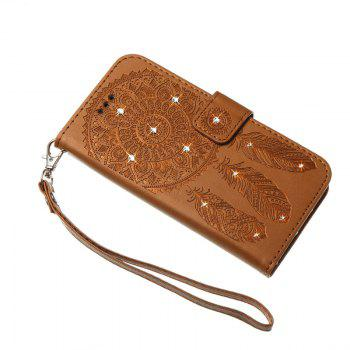 Wind Chime Leather Case with Water Drill for Samsung Galaxy Note 8 - BROWN