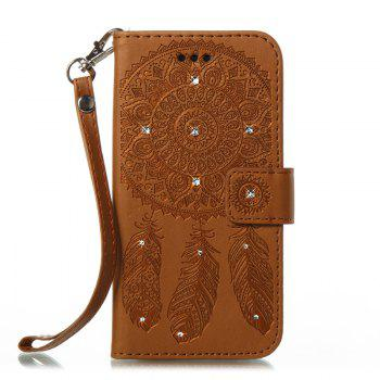 Wind Chime Leather Case with Water Drill for Samsung Galaxy S8 - BROWN