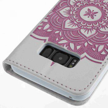 Wind Chime Leather Case with Water Drill for Samsung Galaxy S8 - PINK / WHITE