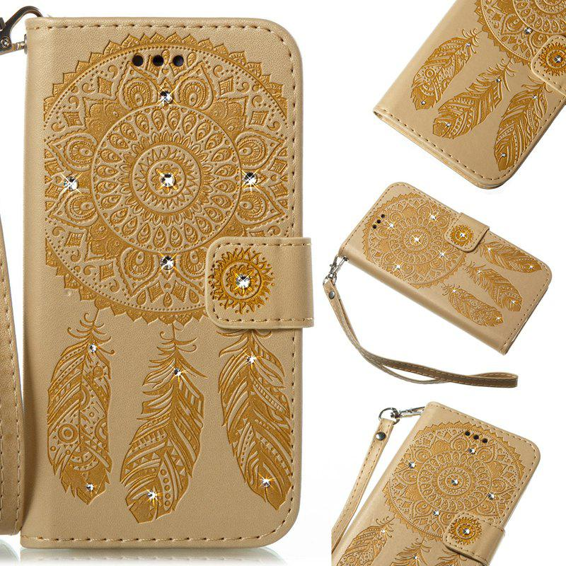 Wind Chime Leather Case with Water Drill for Samsung Galaxy S8 - GOLDEN