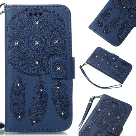 Wind Chime Leather Case with Water Drill for Huawei P8 Lite 2017 - BLUE