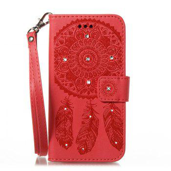 Wind Chime Leather Case with Water Drill for Huawei P8 Lite 2017 - RED