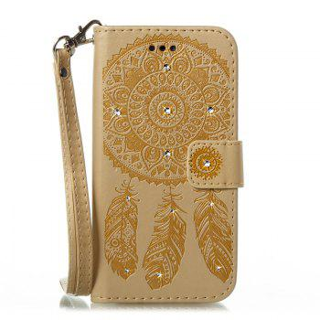 Wind Chime Leather Case with Water Drill for Huawei P8 Lite 2017 - GOLDEN