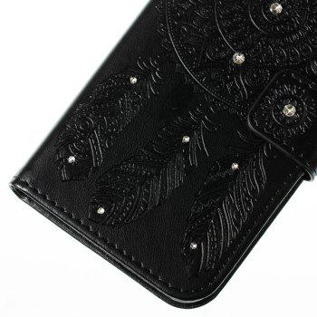 Wind Chime Leather Case with Water Drill for Huawei P8 Lite 2017 - BLACK