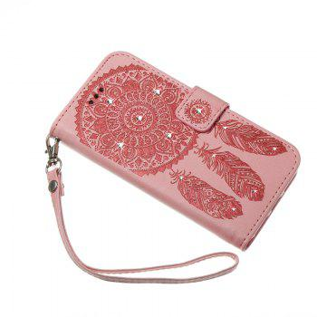 Wind Chime Leather Case with Water Drill for Huawei P8 Lite 2017 - PINK