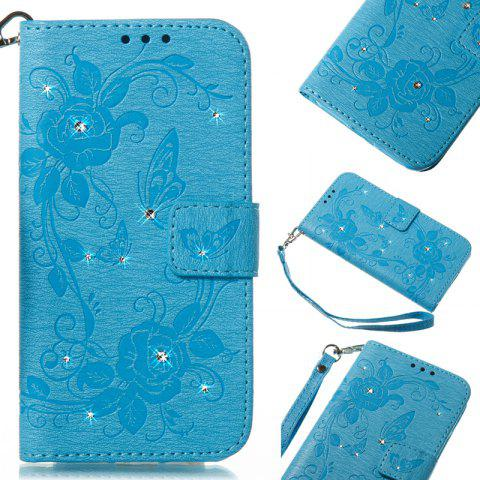 Butterfly and Flower Leather Case Cover with Water Drill for Huawei P8 Lite 2017 - BLUE