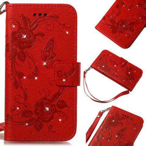 Butterfly and Flower Leather Case Cover with Water Drill for Huawei P8 Lite 2017 - RED