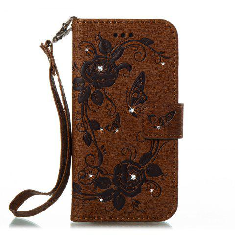 Butterfly and Flower Leather Case Cover with Water Drill for Huawei P8 Lite 2017 - BROWN