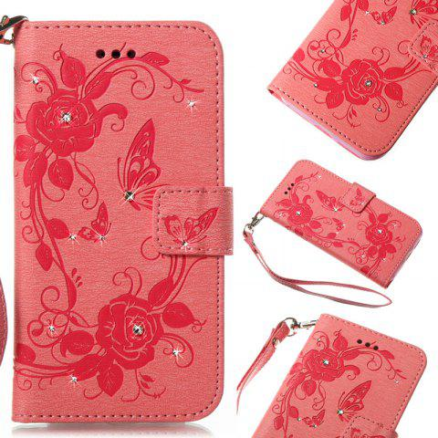 Butterfly and Flower Leather Case Cover with Water Drill for Huawei P8 Lite 2017 - PINK