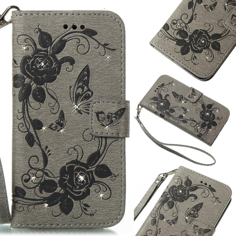 Butterfly and Flower Leather Case Cover with Water Drill for Huawei P8 Lite 2017 - GRAY