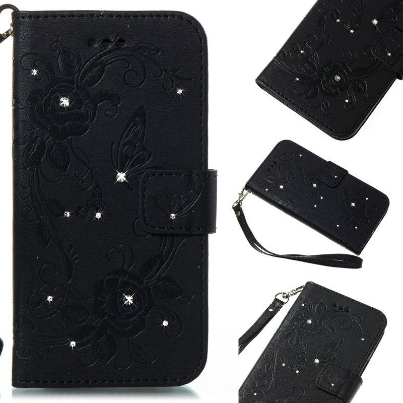 Butterfly and Flower Leather Case Cover with Water Drill for Huawei P8 Lite 2017 - BLACK