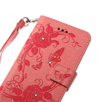 Butterfly and Flower Leather Case Cover with Water Drill for Samsung Galaxy J7 2017 American Edition - PINK