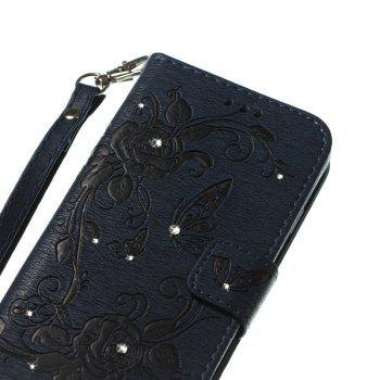 Butterfly and Flower Leather Case Cover with Water Drill for Samsung Galaxy J7 2017 American Edition - DEEP BLUE