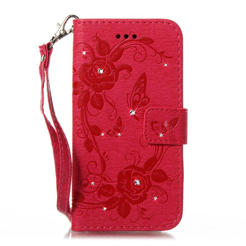 Butterfly and Flower Leather Case Cover with Water Drill for Samsung Galaxy J7 2017 American Edition - ROSE RED