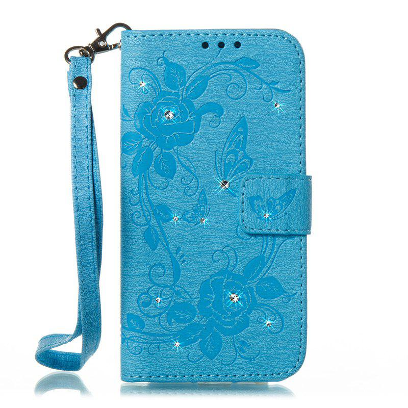 Butterfly and Flower Leather Case Cover with Water Drill for Samsung Galaxy J7 2017 American Edition - BLUE
